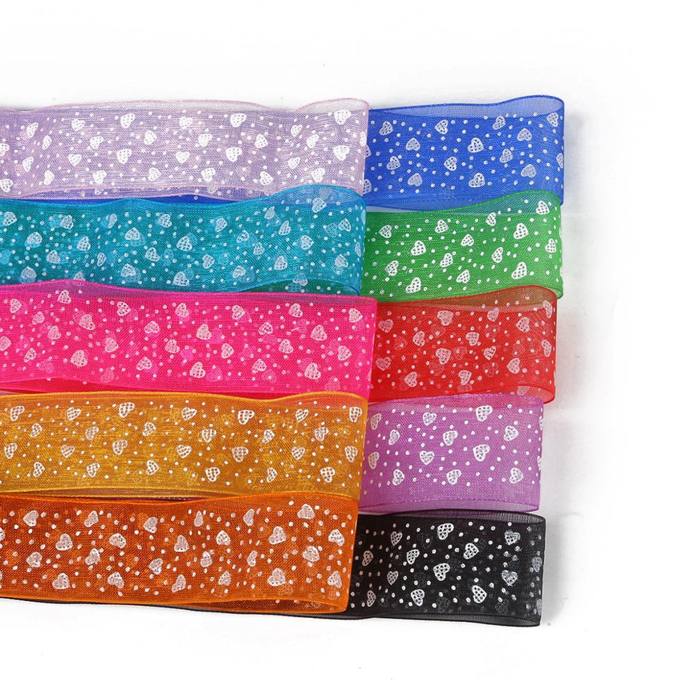 Nc 5 ярдов/партия 28 мм печатные ленты из органзы для изготовления ювелирные изделия на волосы Свадебная вечеринка Декоративные DIY подарок для обертывания коробок