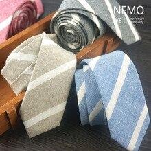 Cotton Linen Slim Ties for Men 5cm Wide 2017 New Fashion Party Skinny Necktie Striped Coffee Black Blue Red Man's Narrow Tie