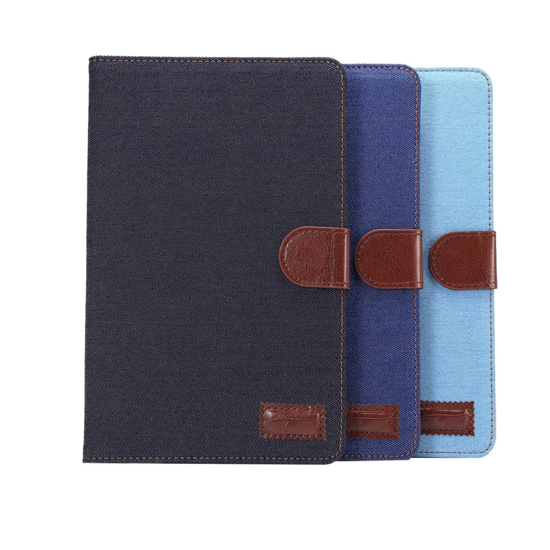 Jean Cloth Smart Cover For Apple Ipad Pro 9.7 inch With Credit Card Pocket Photo Frame PU Leather Case Auto Sleep/Wake