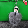 Fuffy KARLITO Karl Genuine Raccon Fur Pompom Monster Bag Bugs Charm Keychain Plush Key Ring Leather Tassel Pompom Key chain