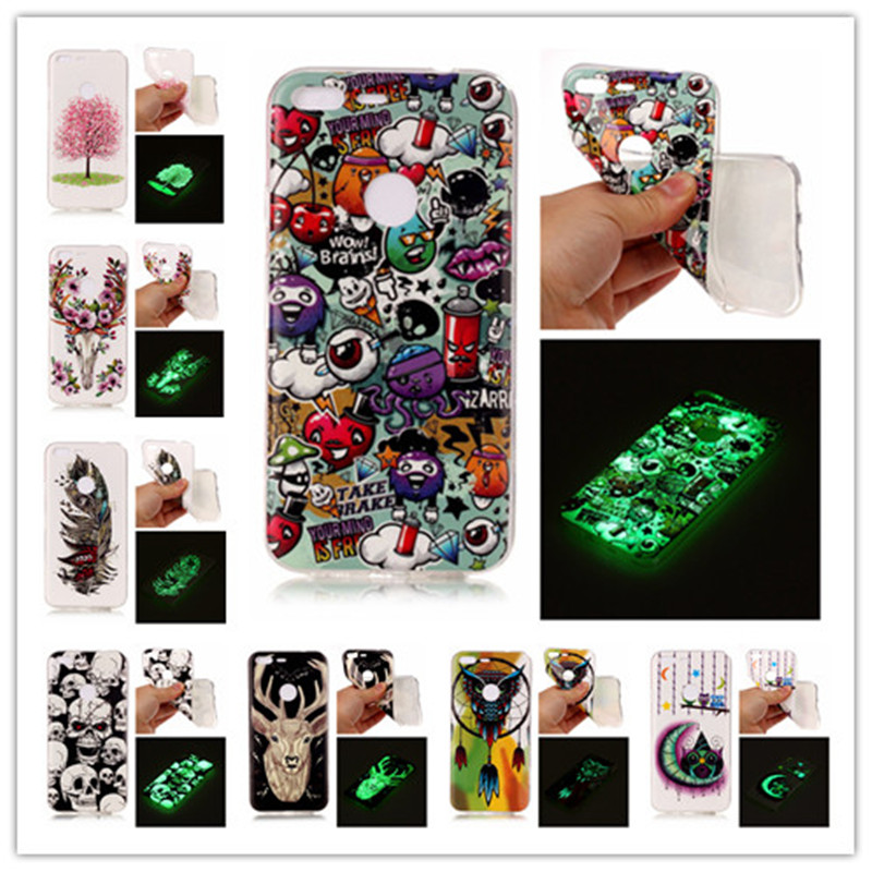 Soft IMD Luminous Case For Google Pixel Pixel XL Cover Cherry Tree Moon Owl Wind Chime Glow In Dark Luminous Mobile Phone Case