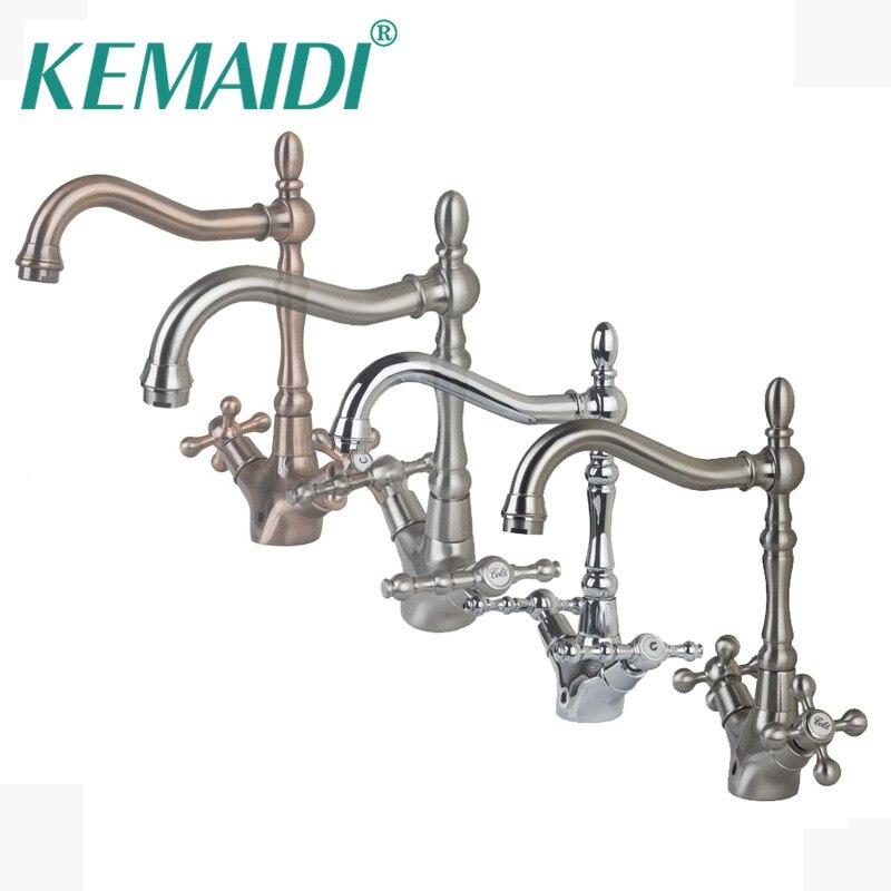 KEMAIDI Antique Brass & chrome & Níquel Escovado Pia Do Banheiro Mixer Bacia Torneiras Retro 2 lida com 1 Furos Torneira Deck montado