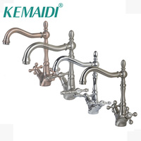 KEMAIDI Antique Brass & chrome & Brushed Nickel Bathroom Sink Mixer Basin Faucets Retro 2 handles 1 Hole Tap Deck Mounted