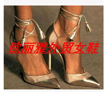 Newly Casad Rihanna Impera blade metal high heels pointed toe women pumps two pieces spring summer heels party shoes woman
