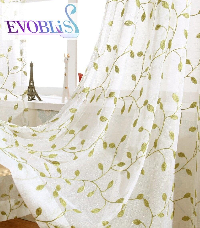 2018 pastorale stijl tule gordijnen voor woonkamer geborduurde voile - Thuis textiel