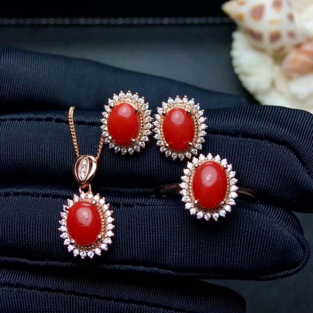 shilovem 925 sterling silver Natural red coral pendants rings earrings women plant party send necklace gift jctz685746agshshilovem 925 sterling silver Natural red coral pendants rings earrings women plant party send necklace gift jctz685746agsh