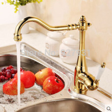 Chrome Golden Swivel Spout Hot and Cold Kitchen Sink Faucet Deck Mounted Single Handle Kitchen Mixer