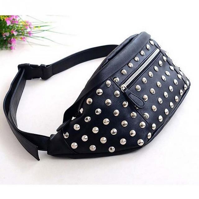 f3c4c6bc53ad Поясные сумки Для женщин заклепки поясная сумка Пояс Сумка женская мини  кармашек сумки PU кожа сумки