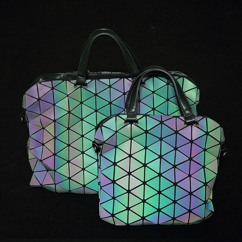 Brand Design Women Bao Bao Bag Luminous Geometric women's Handbags Plaid Shoulde