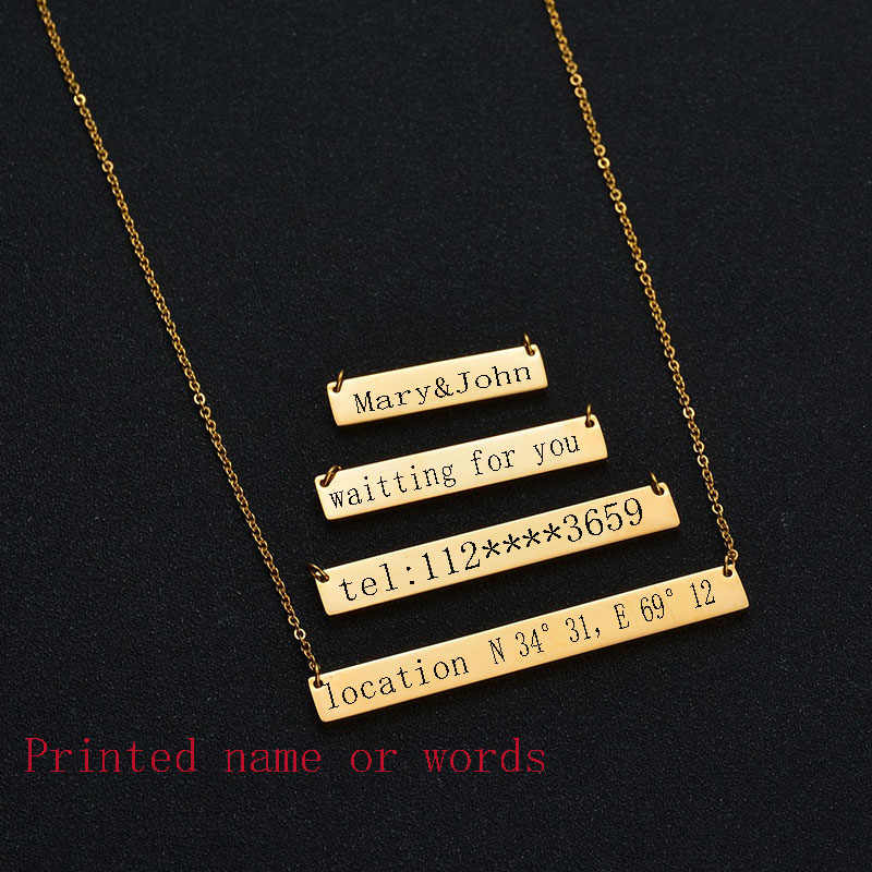 Personalised Gift 316L Stainless Steel Custom Personalized Name 3 Colors Square Dog Tag Pendant Necklace Customized Necklace