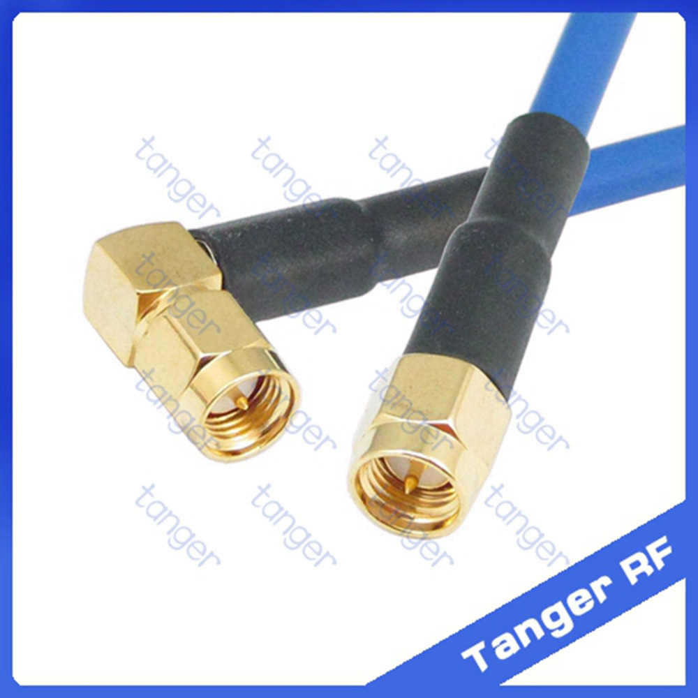 SMA Right angle connector male to male plug with RG402 RG141 RG-402 Coaxial Jumper blue cable 8 inch 8in 20cm RF Low Loss Coax tanger n to sma male plug straight connector with rg402 rg141 rg 402 coaxial jumper semi flex cable 8in 8 20cm rf low loss coax