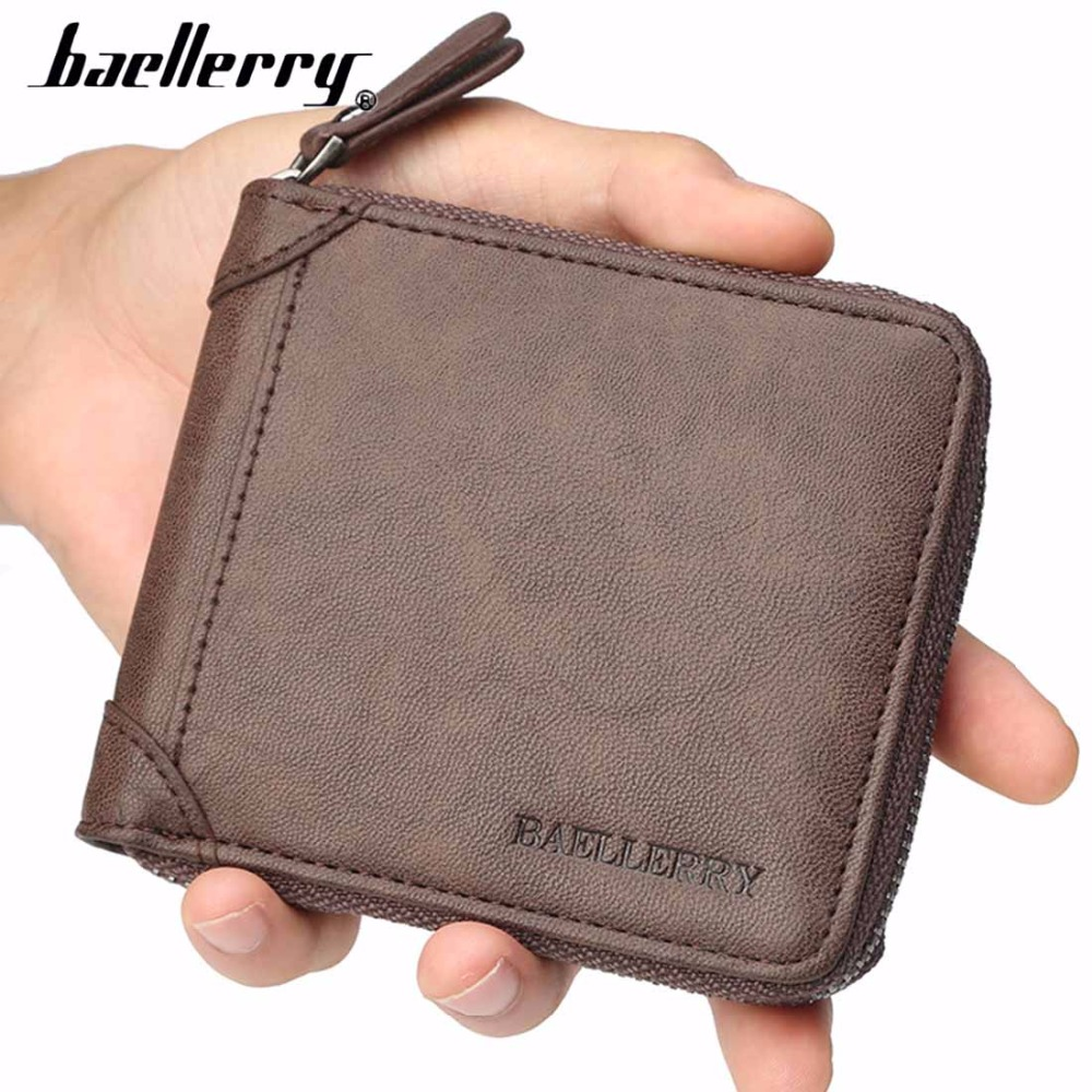 2019 Baellerry PU Leather Men Wallet Short Zipper Casual Male Purse Card Photo Holder Coin Pocket New Top Quality Brand Wallet in Wallets from Luggage Bags