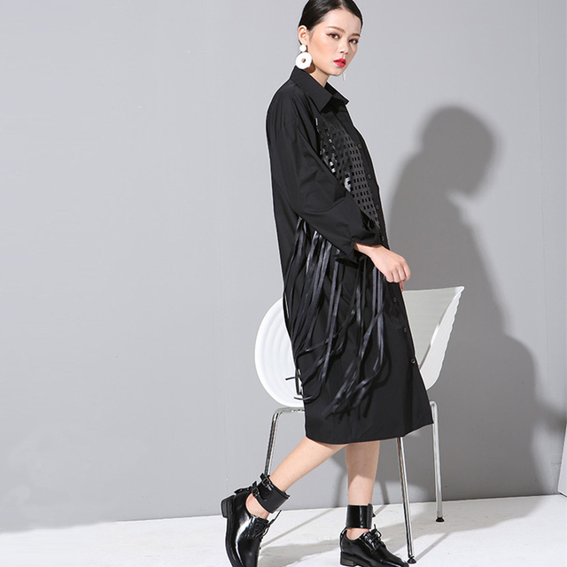 739f59ee9 [soonyour] 2017 new spring Tassel Big Long sleeve plus size cotton black  Shirt Dress