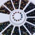 1 Caixa Preta Brilhante Strass Prego 3D Decoração Arte em Roda de Fundo Plano Manicure DIY Nail Art Decoração