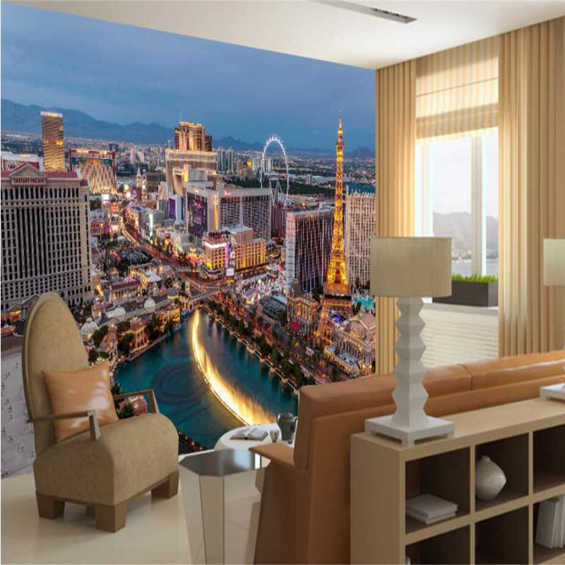 beibehang Custom 3d wallpapers Paris city night view TV background living room bedroom wall paper home decoration