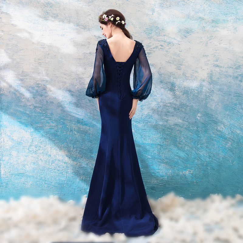 a5afdceda89a Mermaid Evening Dress Sexy Fishtail Long Sleeved Navy Blue Lace Appliques  Long Prom Party Gown Robe De Soiree-in Evening Dresses from Weddings &  Events on ...