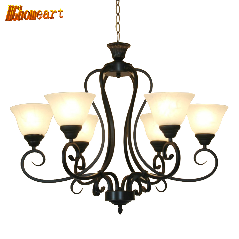 Hghomeart Continental Hall Retro American Pastoral Living Room Chandelier Dining Bedroom Six Lighting Fixtures, Wrought Iron hghomeart minimalist continental iron chandelier bedroom living room lighting dining kitchen retro chandelier ceiling lights e27