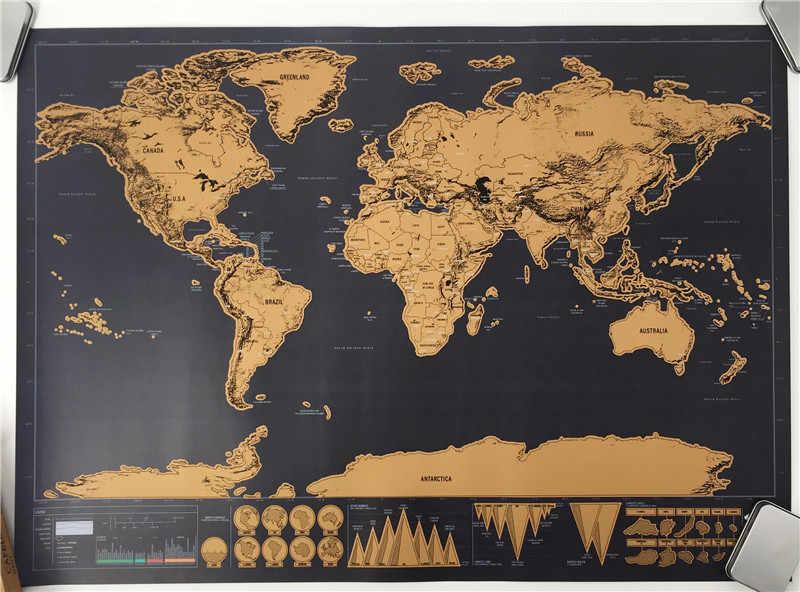 خدش قبالة خريطة جدار ديكور فني ديكور المنزل الفني لغرفة المعيشة السفر الأطفال الكبار رجل الأعمال انخفاض الشحن