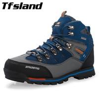 Tfsland Men Waterproof Genuine Leather Outdoor Hiking Shoes New Male Sport Shoes Trekking Mountain Climbing Suede