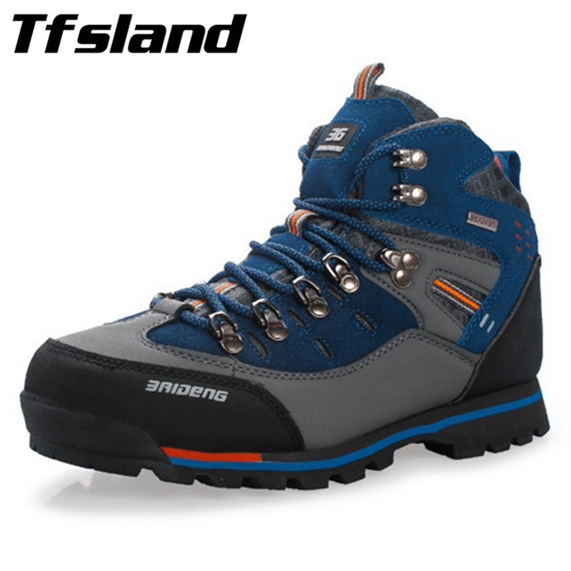 Tfsland Men Waterproof Genuine Leather Outdoor Hiking Shoes New Male Sport Shoes Trekking Mountain Climbing Suede