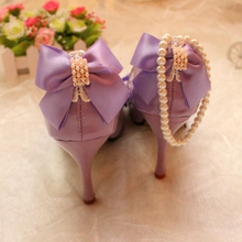 Purple wedding shoes high-heeled bridal shoes bow pearl banding bandage beaded handmade thin heels wedding shoes women's shoes