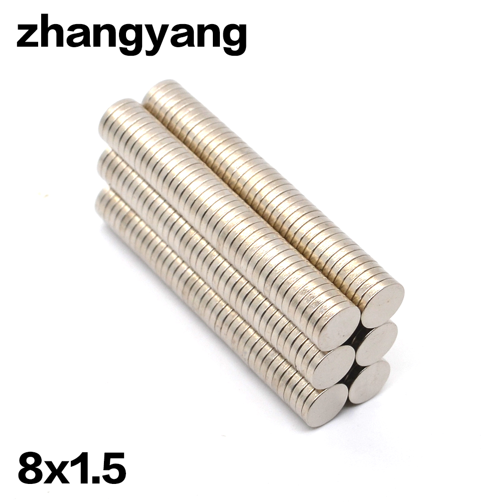 Factory Sell High Quality 1000 PCS Strong Round Dia. 8mm x 1.5mm Rare Earth Neodymium Magnet Art Craft Fridge rubber round table foot cover protector 8mm inner dia 24 pcs