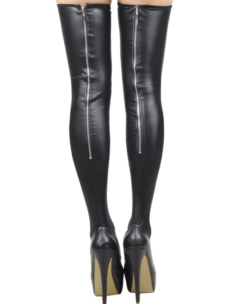 New Fashion Sexy Black Leather Stockings Erotic Zipper Women Thigh High Stockings Lady Trendy Leg Wear With Stay Up Silicone