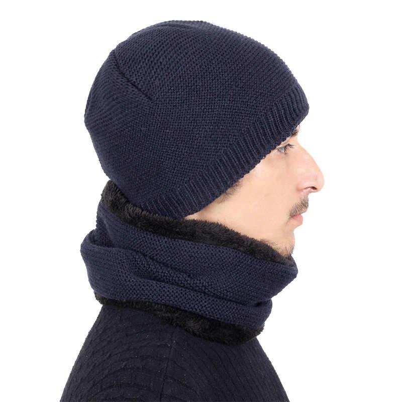 e110d823e2d ... 2018 New Fashion Maple Leaf LOGO Knit Beanie Hat Solid Color Winter Man  Woman Plus Velvet ...