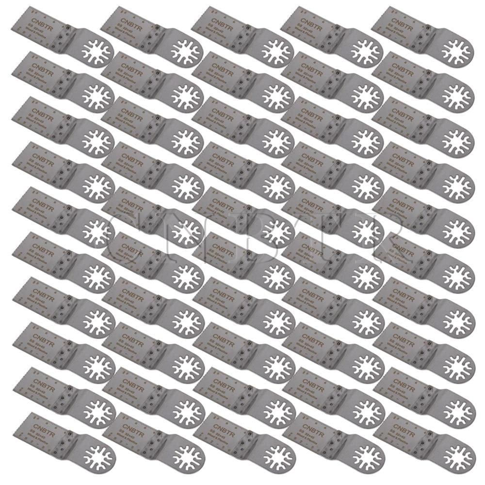 50PCS CNBTR 32x40mm Silver Oscillating Multitool Universal Saw BladesSharp Teeth cnbtr 20pcs 77mm hard alloy v cut shape universal diamond oscillating saw blades
