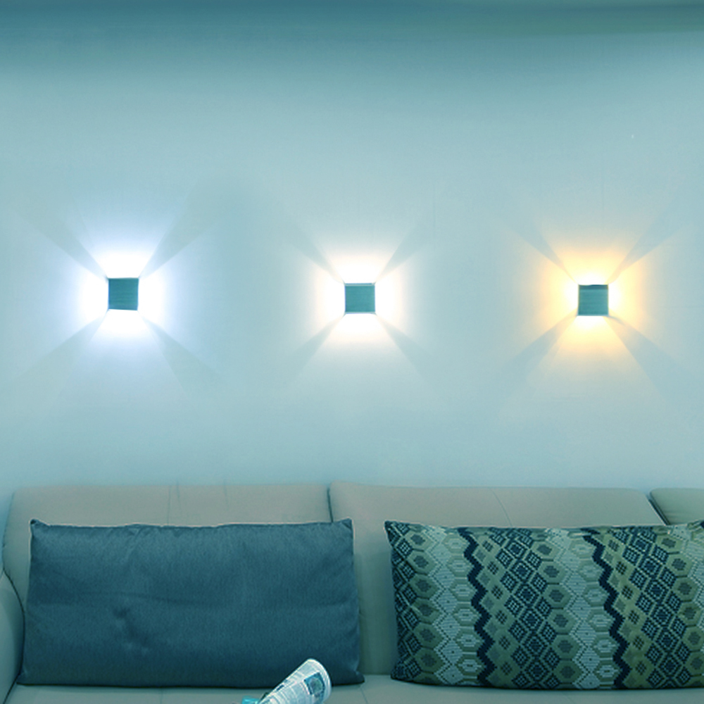 Led Wall Light Square tangga tangga langkah Aluminium Sconce 3W sekerat badan Foyer KTV BAR arandelas para parede Background USE VR