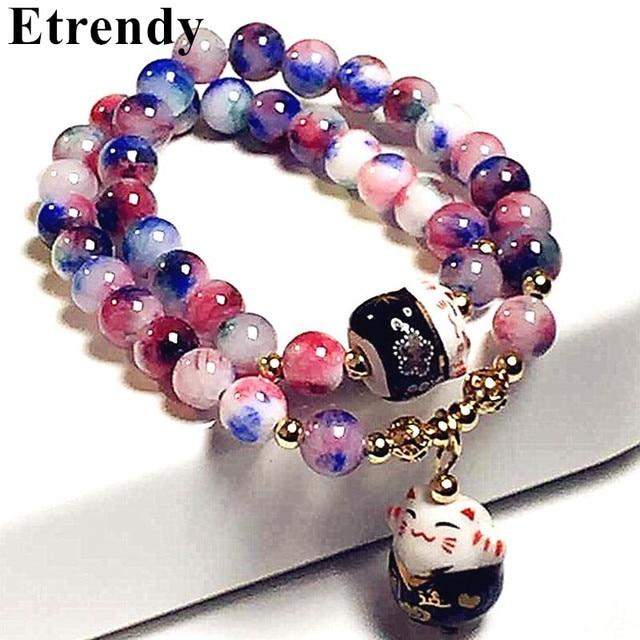 Lucky Cat Crystal Natural Stone Bracelet Multilayer Beaded Bracelets For Women Jewelry Female Gift