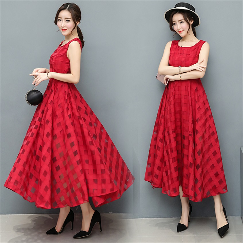 2018 Fresh summer organza dress Plaid fashion casual Slim solid color big swing dress long section TB18216