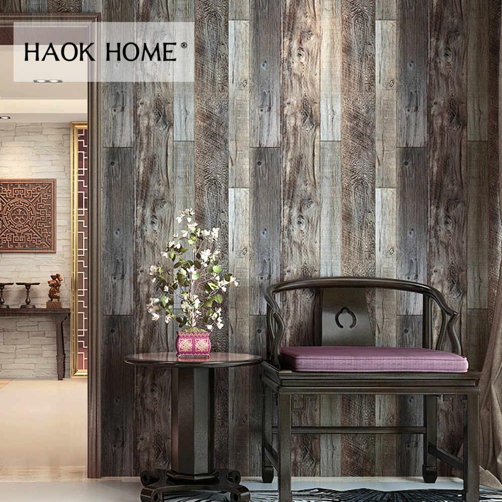 Haokhome 3d Vintage Faux Wood Plank Wallpaper Rolls Grey Brown Wallpaper Murals Home Living Room Kitchen Bathroom Decor