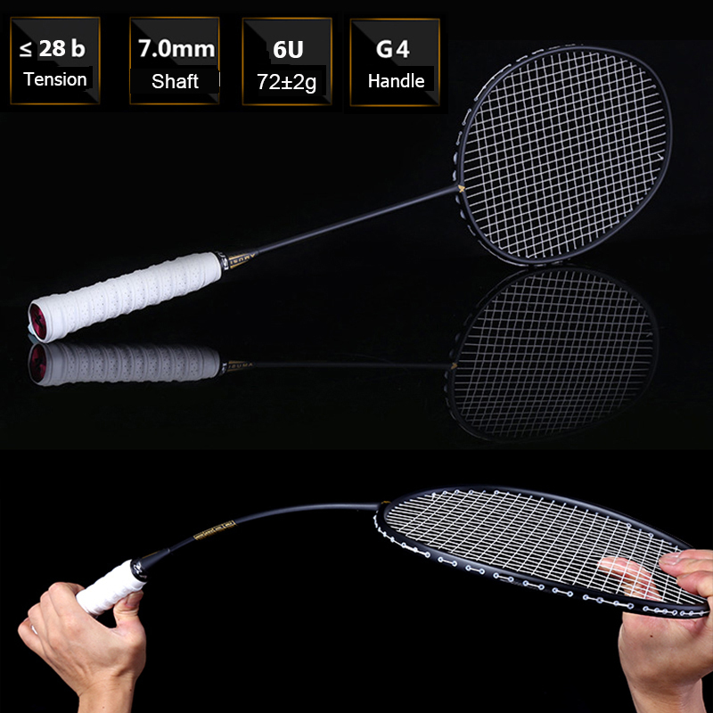1 Pair Ultralight 6U 72g Strung Badminton Racket Professional Carbon Badminton Racquet Set 22-28 LBS Free Grips And Wristband