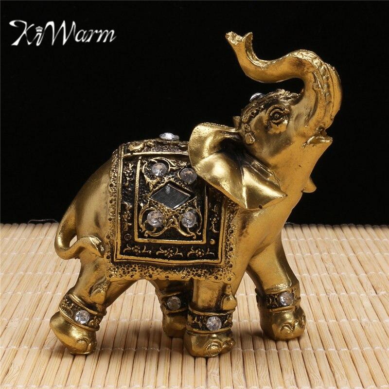 KiWarm Feng Shui Elegante Elefant Stamm Statue Glück Reichtum Figur Geschenk und Dekoration