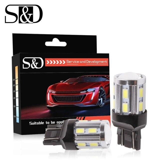 2 шт. 7443 7440 автомобиля светодиодный лампы 12 светодиодов SMD 5730 W21/5 Вт 5 Вт высокой мощности Светодиодная лампа лампочки Автомобильные фары, желтый, белый, красный