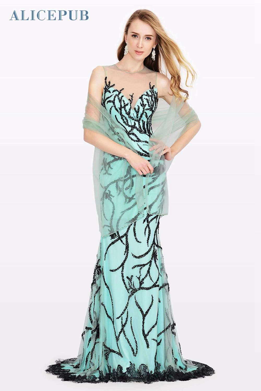 STOCK Mermaid Prom Dresses Long Tulle Illusion Neckline Wedding ...