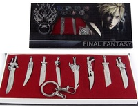 8 Pcs Set Final Fantasy Keychain Game Final Fantasy 8 Weapon Sword Set Zinc Alloy Pendants