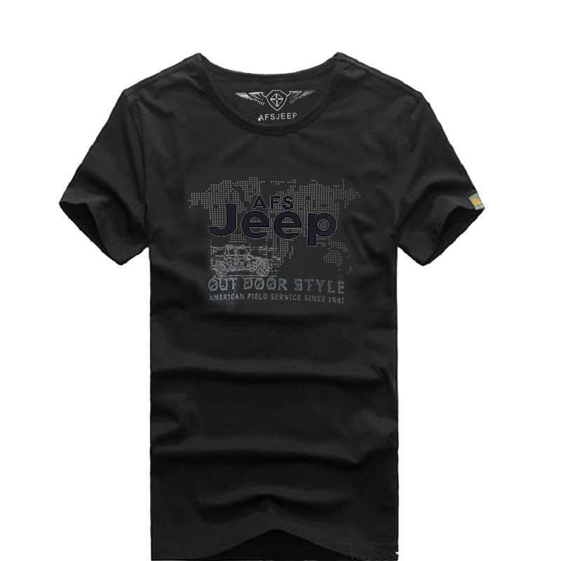 AFS JEEP Mens del Cotone di Marca Della MAGLIETTA Degli Uomini Casual Camicette O Collo Del Manicotto Del Bicchierino di Stampa Lettera t-shirt camiseta hombre tee shirt homme
