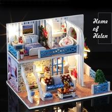цена DIY Doll House Wooden Doll Houses Miniature Dollhouse Furniture Kit with LED Toys For children Christmas Gift Color box онлайн в 2017 году
