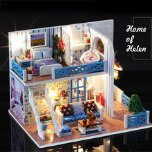 цена на KACUU DIY Doll House Wooden Doll Houses Miniature Dollhouse Furniture Kit with LED Toys For children Christmas Gift Color box