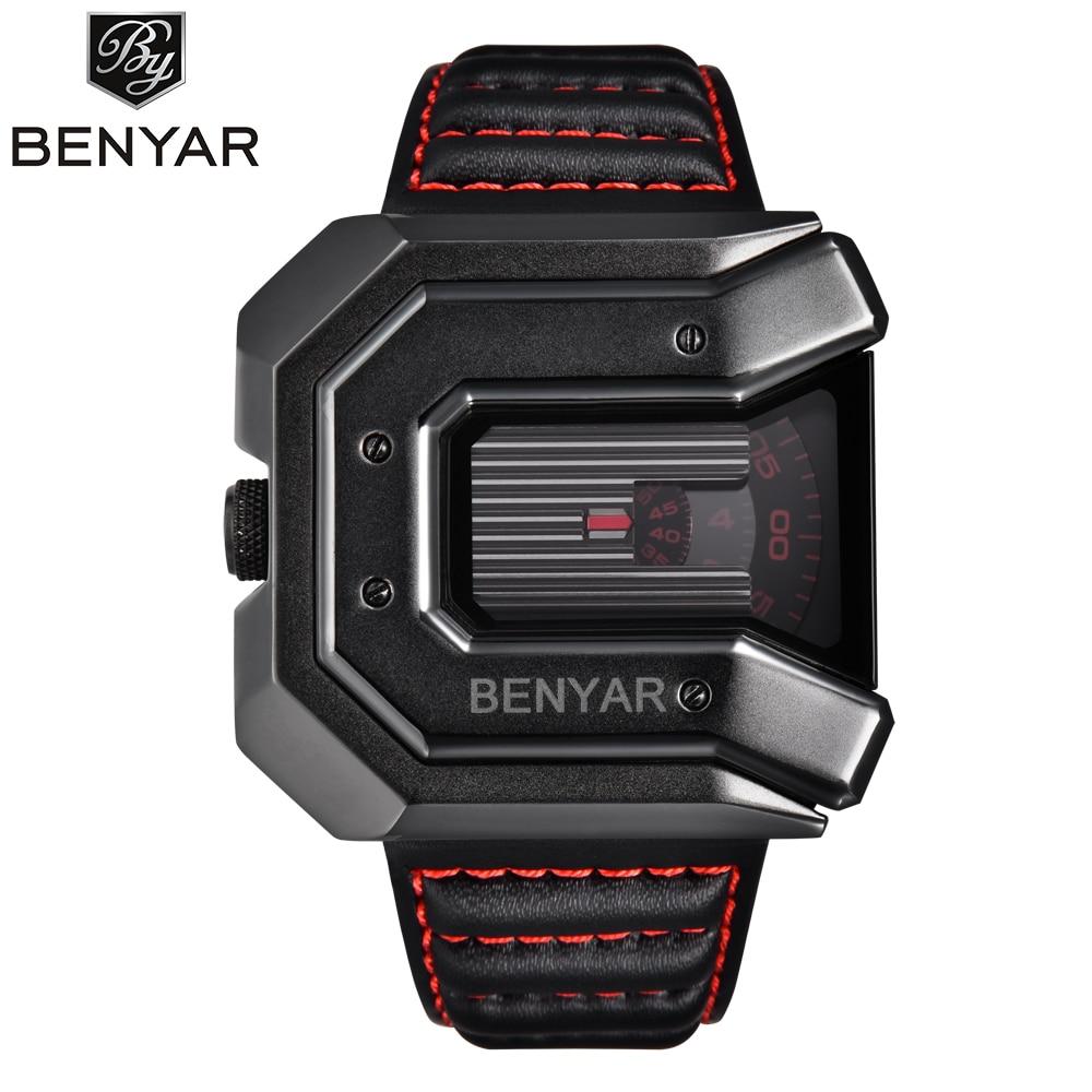 купить 2018 New Top Luxury Brand BENYAR Unique Design Fashion Irregular Shape Dial Quartz Wrist Watch Men Leather Relogio Masculino онлайн