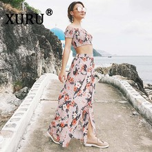 XURU summer new chiffon dress two-piece suit fashion casual one-shoulder short-sleeved printed