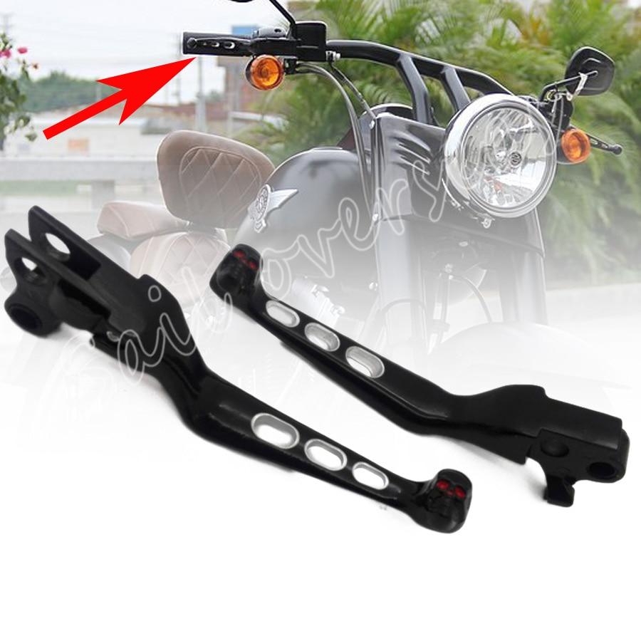 Hete Verkoop 1 Paar Zwart Aluminium Skull Rem Koppelingshendel Stuur Voor Harley Sportster Softail Night Train Fatboy Electra Glide Custom