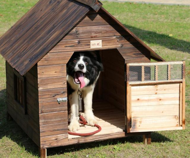 Hot sale Kennel outdoor balcony carbonized fir anti - corrosion rain solid wood dog house cat nest bed pet tent house S/M/L SE14