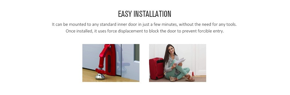 Door Jammer Lockdown Portable Door Lock Brace for Home Security and Personal Protection- Red