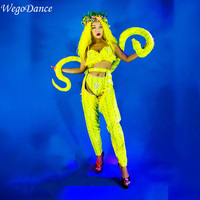 custom woman Nightclub GOGO models sexy fluorescent gold python skin pattern costumes singer costumes
