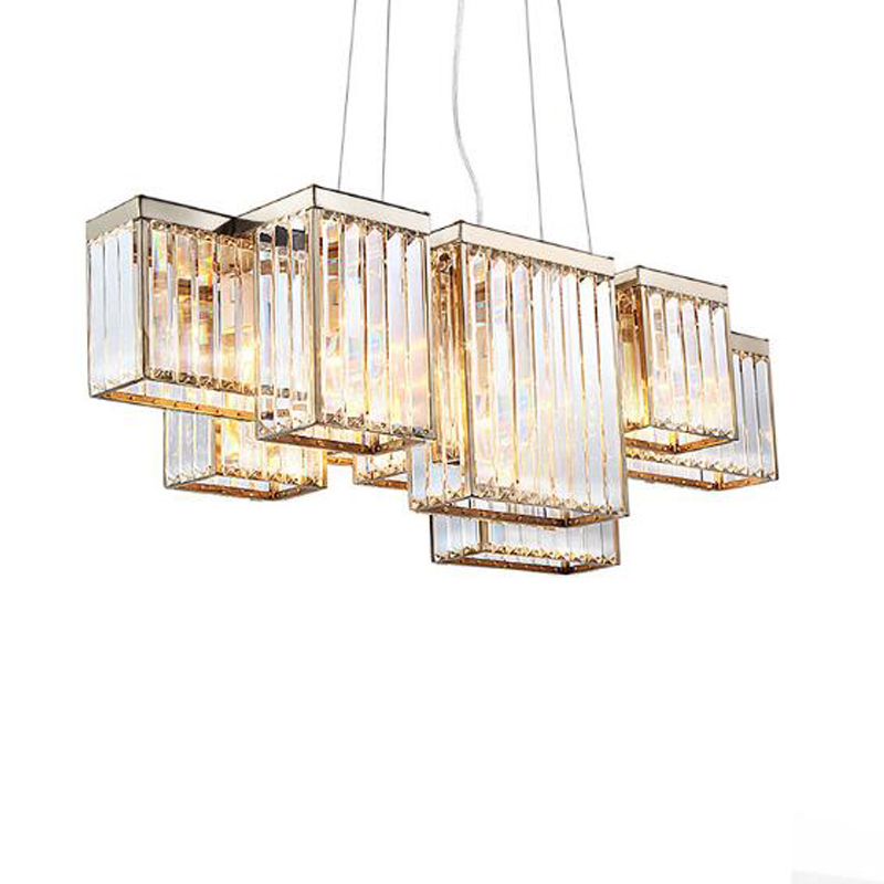 2018 NEW American Golden Black 70CM 90CM 110CM 135CM E14 Three-dimensional cryst shade Dining Room Chandeliers Lighting fixtures
