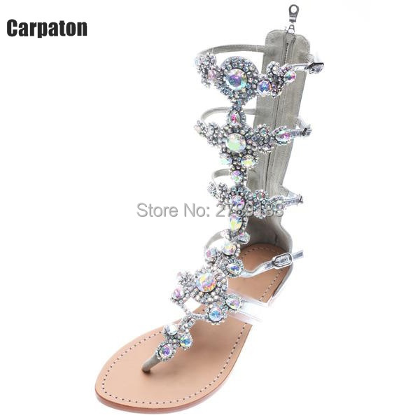 high quality Crystal Gladiator Sandals Summer Flip Flops Casual Shoes Woman Slip On Flats Rhinestone Women Shoes Size 35-42 hee grand summer gladiator sandals 2017 new platform flip flops flowers flats casual slip on shoes flat woman size 35 41 xwz3651