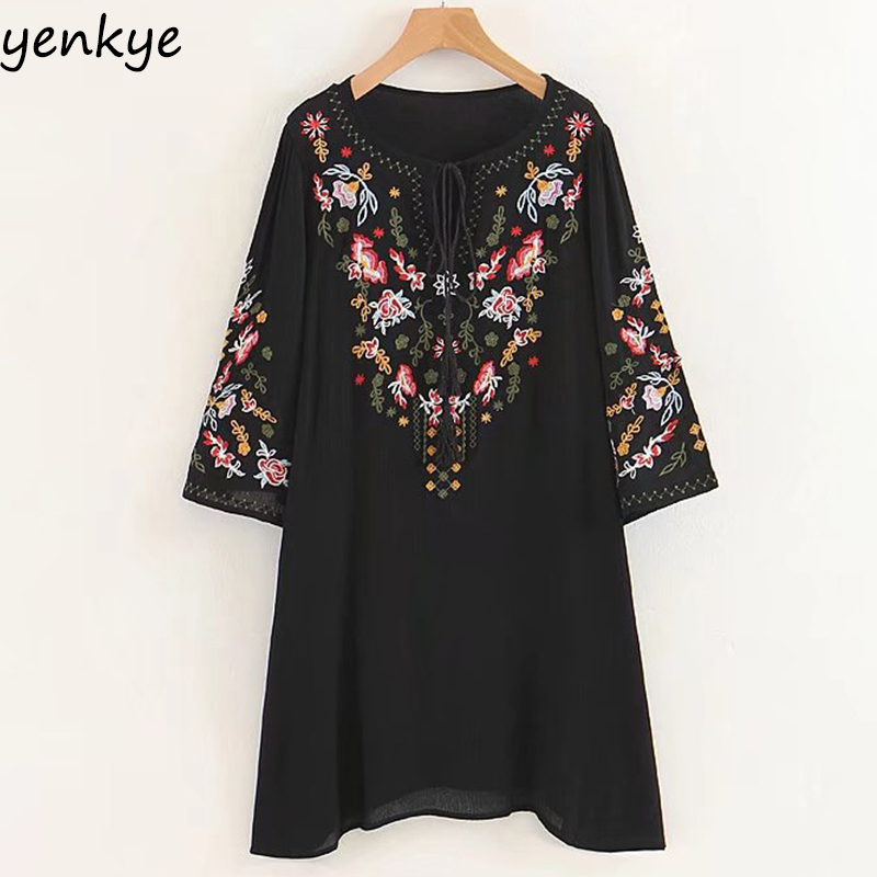 Summer Dress Women Floral Embroidery Dress Tassel Lace Up  O Neck Half Sleeve Loose Casual Dresses SDP8463